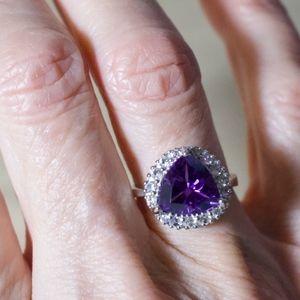 Purple Amethyst & Cubic Zirconia SS Ring
